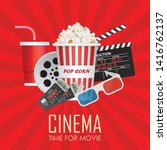 time for movie poster vector...   Shutterstock .eps vector #1416762137