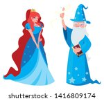 beautiful princess with wizard... | Shutterstock .eps vector #1416809174