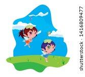 beautiful magic fairies in camp | Shutterstock .eps vector #1416809477