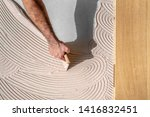 craftsman spreads the parquet... | Shutterstock . vector #1416832451