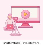 woman seated using laptop with...   Shutterstock .eps vector #1416834971