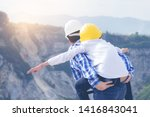 boy riding back father on the... | Shutterstock . vector #1416843041