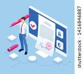isometric digital signature... | Shutterstock .eps vector #1416846887