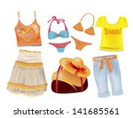 set of summer clothes for girls | Shutterstock .eps vector #141685561