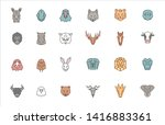 set of 24 animal heads. vector... | Shutterstock .eps vector #1416883361