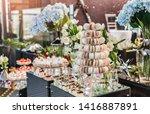 vanilla and chocolate macaroons ... | Shutterstock . vector #1416887891