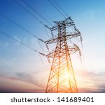 high voltage post.high voltage... | Shutterstock . vector #141689401