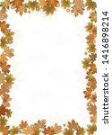 fall leaves border isolates  on ... | Shutterstock . vector #1416898214