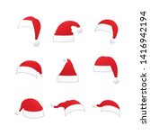 christmas santa claus hats... | Shutterstock .eps vector #1416942194