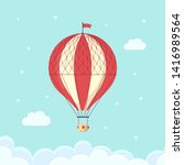 vintage retro hot air balloon... | Shutterstock .eps vector #1416989564