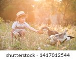 cute child boy 3 4 year old... | Shutterstock . vector #1417012544