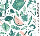 hand drawn doodle vegan... | Shutterstock .eps vector #1417016651