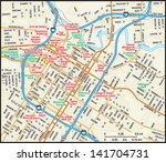 houston  texas downtown map | Shutterstock .eps vector #141704731