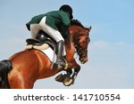 Stock photo rider on bay horse in jumping show 141710554