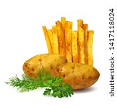 french fries low poly. fresh ... | Shutterstock .eps vector #1417118024