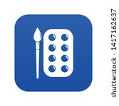 paint brush palette icon blue...
