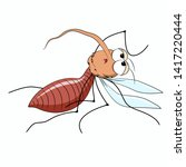 cute vector mosquito. cartoon... | Shutterstock .eps vector #1417220444