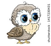 cute owl cartoon vector  bird... | Shutterstock .eps vector #1417230431
