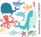 sea life set. hand drawn whale  ...