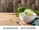 coleslaw salad in white bowl on ...   Shutterstock . vector #1417256504