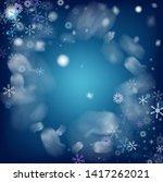 blue realistic vector snowfall. ... | Shutterstock .eps vector #1417262021