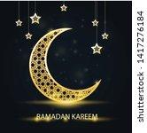 golden crescent with arabic... | Shutterstock .eps vector #1417276184
