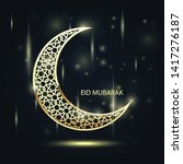 golden crescent with arabic... | Shutterstock .eps vector #1417276187
