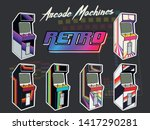 1980s arcade machines isolated... | Shutterstock .eps vector #1417290281