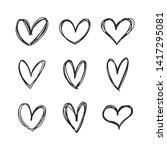 hand drawn heart vector set.... | Shutterstock .eps vector #1417295081