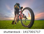 woman cyclist bicycle riding on ... | Shutterstock . vector #1417301717