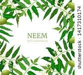 neem leaf branch boxing frame ... | Shutterstock .eps vector #1417310174