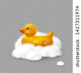 duck with foam effect isolated... | Shutterstock .eps vector #1417311974