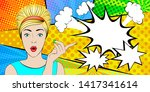 the astonished  surprised girl. ... | Shutterstock .eps vector #1417341614
