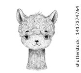baby llama. hand drawn animal.... | Shutterstock . vector #1417374764
