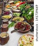 buffet salad bar in a luxury... | Shutterstock . vector #141739669
