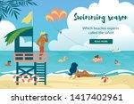 swimming season horizontal... | Shutterstock .eps vector #1417402961