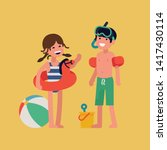 cheerful caucasian kids ready... | Shutterstock .eps vector #1417430114