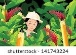 boy in pencil jungle. eps 10... | Shutterstock .eps vector #141743224
