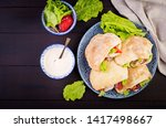 pita stuffed with chicken ... | Shutterstock . vector #1417498667