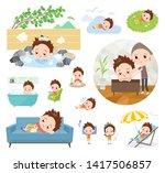 a set of boy about relaxing... | Shutterstock .eps vector #1417506857