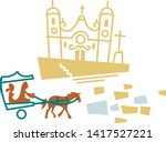 Church And Horse Carriage In...