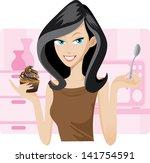 illustration of pretty woman... | Shutterstock .eps vector #141754591
