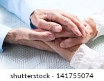 old people holding hands.... | Shutterstock . vector #141755074