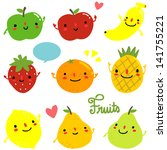 a set of cute happy fruits... | Shutterstock .eps vector #141755221