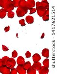 Stock photo white background for advertising with a frame of red rose petals 1417621514