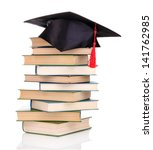 grad hat with books isolated on ...   Shutterstock . vector #141762985