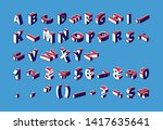isometric alphabet  numbers and ... | Shutterstock .eps vector #1417635641