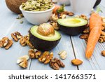 healthy food and dieting... | Shutterstock . vector #1417663571