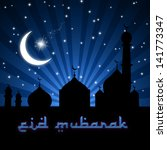eid greeting illustration with... | Shutterstock . vector #141773347