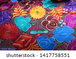 fabric floral textile pattern... | Shutterstock . vector #1417758551